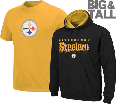 Big tall pittsburgh steelers apparel big and tall fans for Plus size tall t shirts