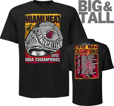 big and tall, Miami Heat NBA Champions t-shirt, Heat 2012 Championship t-shirt