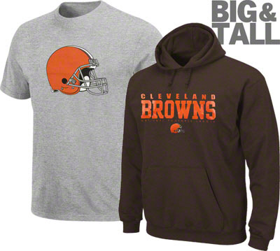 Cleveland Browns Big and Tall apparel, Cleveland Browns plus size apparel, 3X Browns t-shirt, 4XL Cleveland Browns, 5XL Cleveland Browns